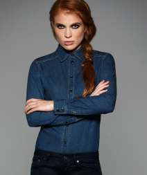 Vision Women Camicia Denim M/L 100% Cot. 185 gr/m2