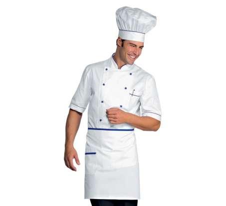 S Isacco Giacca Cuoco Alicante Bianco+Albicocca Bianco+Albicocca Mezza Manica 100/% Cotone