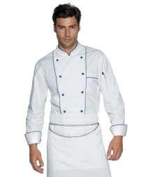 Giacca Cuoco Profilata - Isacco - Bianco+Blu Cina