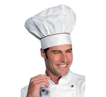 Cappello Cuoco - Isacco - Bianco+Rosso