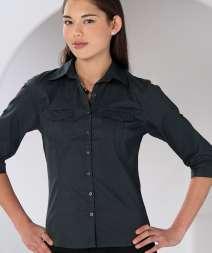 Camicia Donna Twill M 3/4 Risv. 100% Cotone 130gr